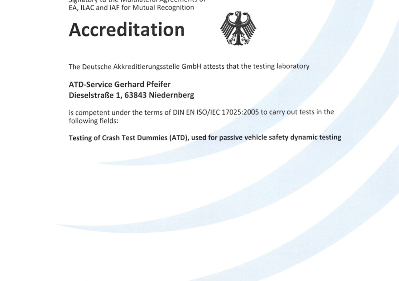 ATD-Service - ISO 17025 accreditiation certificate